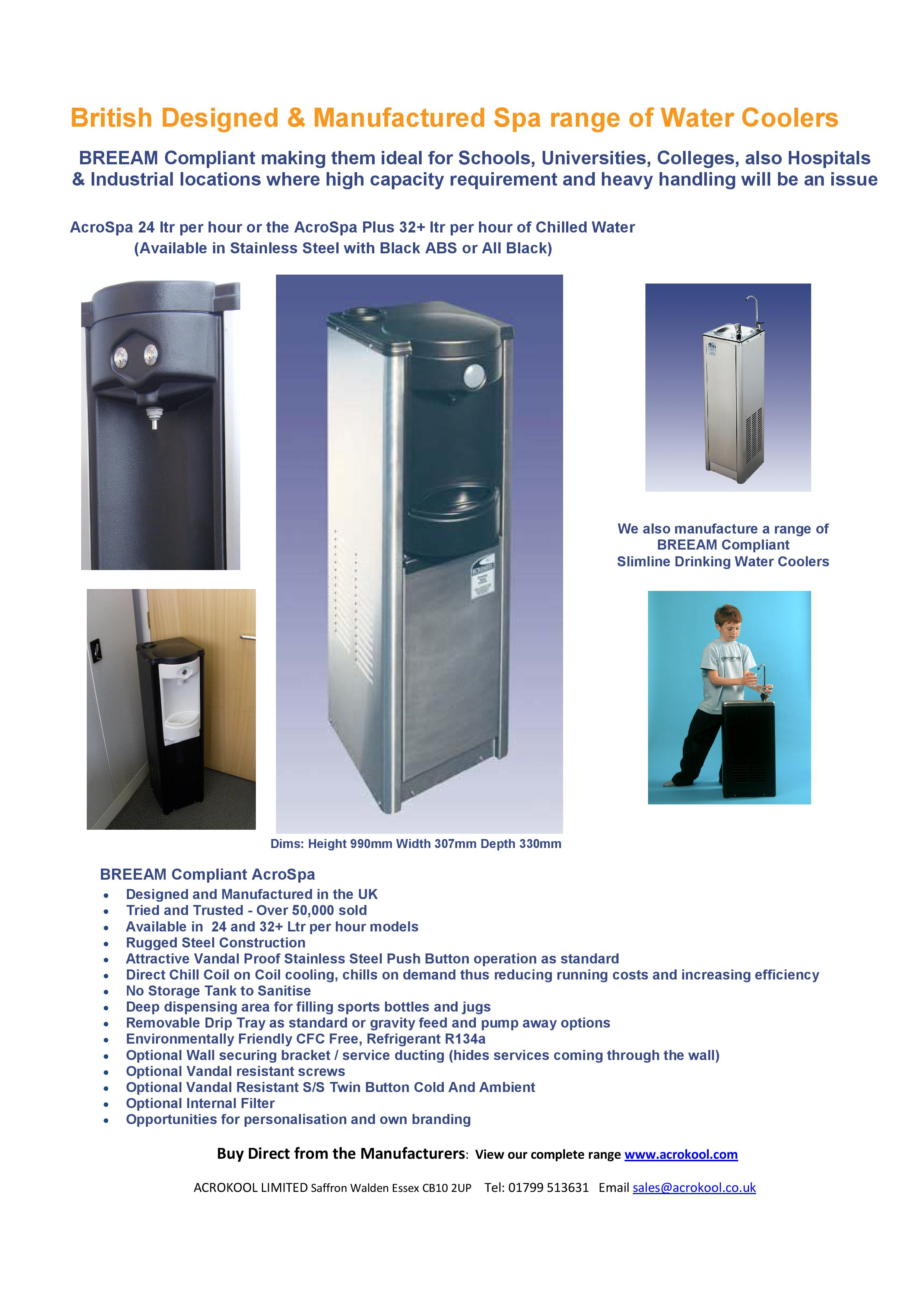 BREEAM Compliant SPA Range Drinking Water Cooler PDF-page-001
