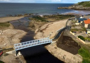 Aerial view of bridge showing its proximity to the North Sea