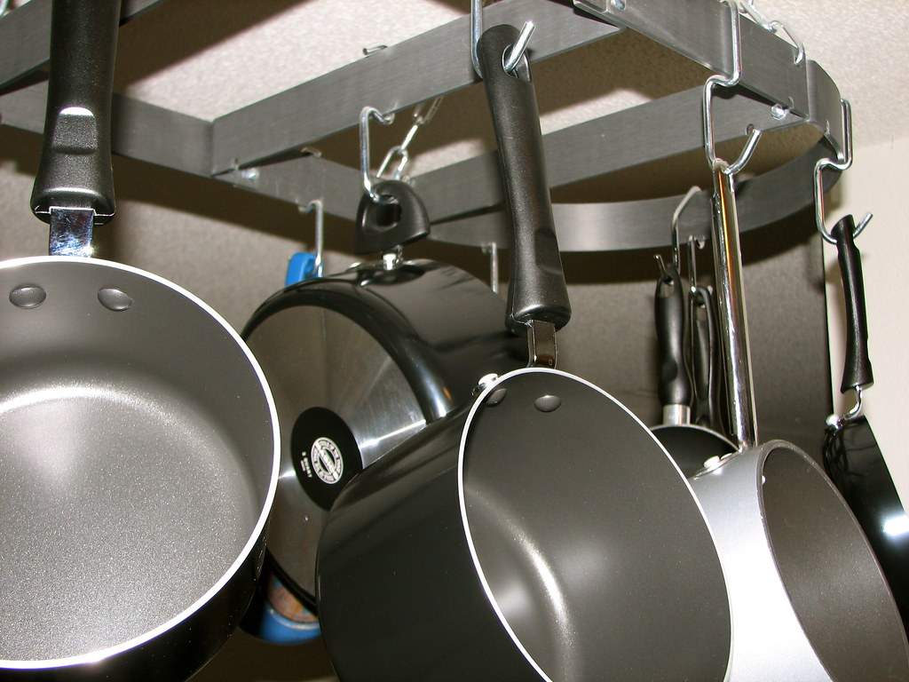 Pots on the Pot Rack | We got so many pots and pans as gifts… | Flickr